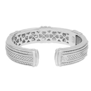 Judith Ripka 18K White Gold & 2.15ct. Diamonds Bangle Bracelet