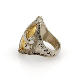 Gurhan 925 Sterling Silver & 24K Yellow Gold Ring Size 6.5