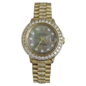 Rolex Datejust 6517 18K Yellow Gold Diamond Dial, Bezel & Band 26mm Womens Watch