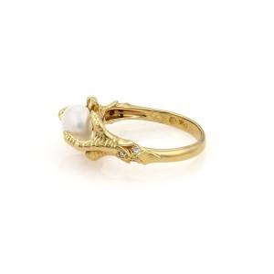 Carrera y Carrera 18K Yellow Gold Diamond & Pearl Eagle Claw Ring Size 6.5