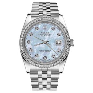Rolex Datejust Stainless Steel Baby Blue Mother of Pearl Diamond Dial & Bezel 26mm Womens Watch
