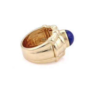 Piaget 18K Yellow Gold Lapis Coral and Pearl Dome Ring Size 6.5