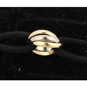 Cartier Trinity 18K Tri-Color Gold 3 Mini Ring Charm Black Cord Bracelet