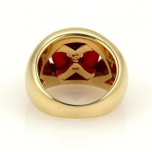 Bulgari Bvlgari 18K Yellow Gold and Carnelian Double Hearts Ring Size 5.5