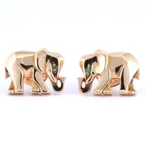 Cartier 18K Yellow Gold Emerald Elephant Stud Earrings