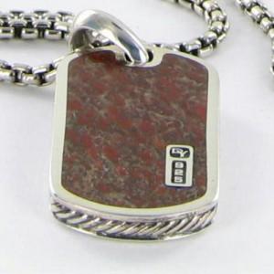 David Yurman 925 Sterling Silver Exotic Stone Dinosaur Bone Inlay Dog Tag Necklace