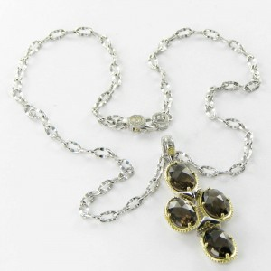 Tacori 18K Yellow Gold 925 Sterling Silver  Smoky Quartz Sun Oval Pools Necklace