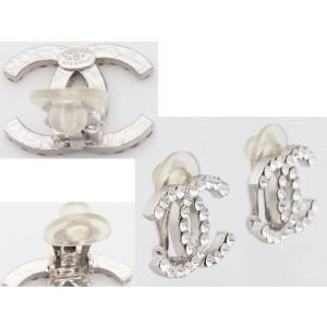 Chanel Silver Tone Metal Earrings