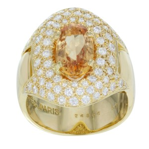 "Hermes 18K Yellow Gold ""Imperial"" 1.30ct. Diamonds & Yellow Topaz Ring Size 6.25"