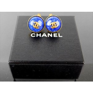 Chanel Gold Tone Metal with Lapis Lazuli Earrings