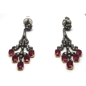 18K Gold Diamond Natural Red Ruby Drop Black Rhodium Earrings