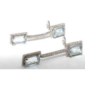 18K White Gold Diamond Blue Aquamarine Earrings