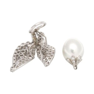 Ruser Platinum 18K White Gold Diamond Pearl Day-Night Drop Earrings