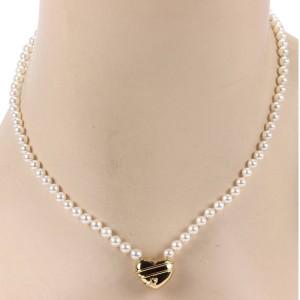 "Tiffany & Co. 18K Yellow Gold ""Cupid"" Arrow Heart Pendant Pearl Necklace"