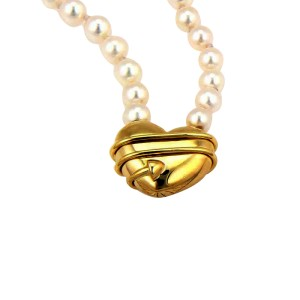"Tiffany & Co. 18K Yellow Gold ""Cupid"" Arrow Heart Pendant Pearl Necklace"