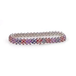 18K White Gold Multi-Color Gemstone Floral Design Bracelet