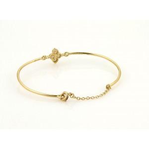 Cartier Hindu Diamond Floral 18k Yellow Gold Wire Band Bracelet