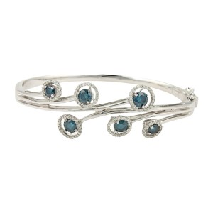 14K White Gold Blue & White Diamonds Floral Bangle Bracelet