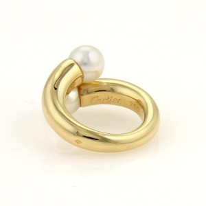 Cartier 18K Yellow Gold Toi et Moi Akoya Pearls Ring Size 4