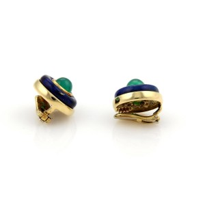 Tiffany & Co. 18K Yellow Gold Lapis Green Onyx Clip On Earrings