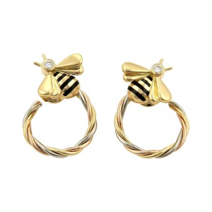 Cartier  18K Tri-Color Gold Diamonds Enamel Bee Twisted Hoop Earrings