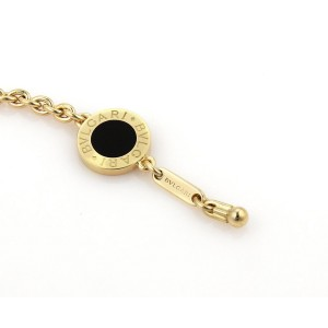 Bulgari 18K Yellow Gold Black Onyx Circle Charm Chain Bracelet