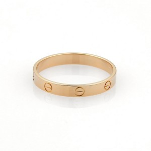Cartier Mini Love 18K Rose Gold Band Ring Size 12.5