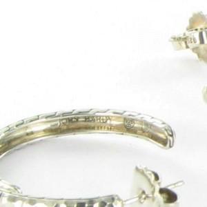 John Hardy Sterling Silver Lava Black Sapphires Palu Medium Hoops Earrings