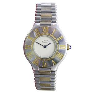 Cartier Must De 21 Stainless Steel with Gold Plated Quartz 28mm Womens Watch
