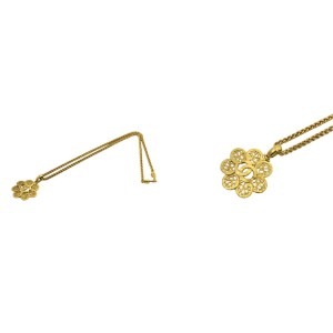 Chanel Gold Plated Coco Mark Flower Motif Necklace Pendant
