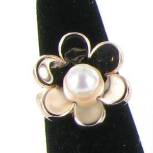 Tous Rose Gold Plated 925 Sterling Silver with Pearl Flower Ring Size 7