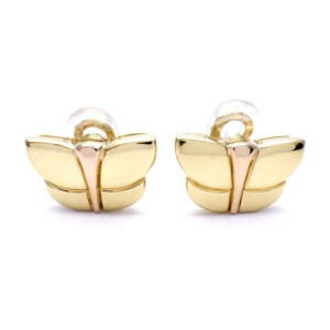 Bulgari 18k Yellow and Rose Gold Butterfly Earrings