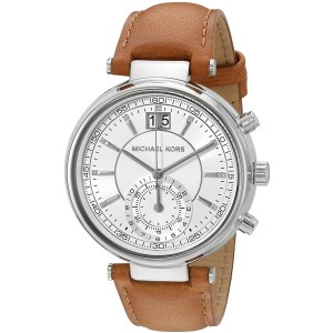 Michael Kors MK2527 Sawyer Stainless Steel & Leather Silver Dial Quartz 39mm Women's Watch