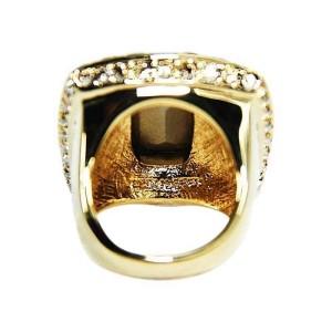 Judith Leiber Gold-Tone Amber & Clear Swarovski Crystal Cabochon Ring Sz 7.5