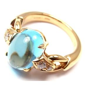 Bulgari Bvlgari 18k Yellow Gold Diamond Blue Topaz Ring