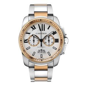 Cartier Calibre de Cartier Chronograph W7100042 Steel & Rose Gold Watch
