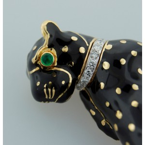 David Webb Enamel Diamond Yellow Gold Panther Pin Brooch