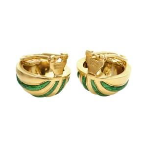 Tiffany & Co. 18k Yellow Gold Striped Green Enamel Clip-on Earrings