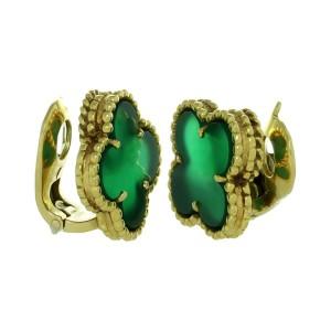 Van Cleef & Arpels 18k Yellow Gold Alhambra Green Chalcedony Earrings
