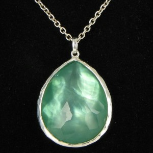 Ippolita 925 Sterling Silver Wonderland Lg Teardrop Mint Quartz Mother of Pearl Doublet Necklace