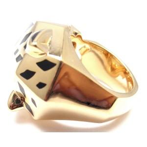 Cartier 18K Yellow Gold Panther Panthere Tsavorite Onyx Ring