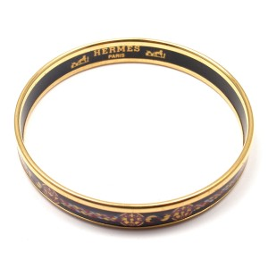 Hermes Black and Gold Tone Metal Enamel Bangle Bracelet