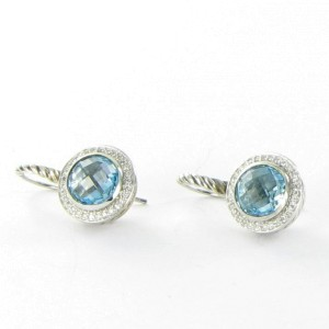 David Yurman Color Classics Sterling Silver 0.18 Ct Diamond and Blue Topaz Earrings