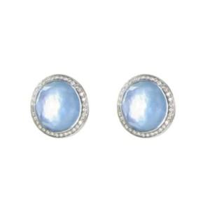 Ippolita 925 Sterling Silver Stella 0.29ct. Diamonds Swiss Blue Topaz Stud Earrings