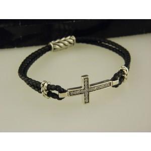David Yurman 925 Sterling Silver Gray Sapphire Pavé Cross Bracelet