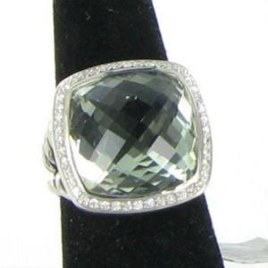 David Yurman Albion Sterling Silver Prasiolite and 0.37 Ct Diamond Ring Size 7