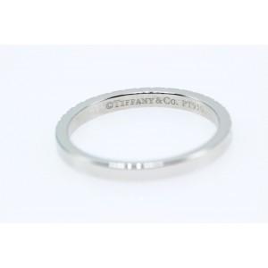 Tiffany & Co. 950 Platinum & 0.23ct. Diamond Half Circle Band Ring Size 7