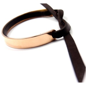 Hermes Paris 18K Rose Gold & Black Leather Cuff Bracelet