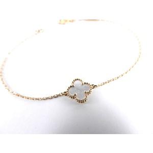 Van Cleef & Arpels 18K Yellow Gold Mother Pearl Sweet Alhambra Bracelet