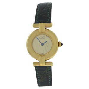 Cartier Must de Colisee 590002 Gold Plated Sterling Silver / Leather 24mm Womens Watch